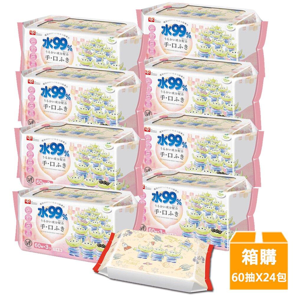 日本LEC 新款迪士尼三眼怪-口手專用純水99%濕紙巾箱購-60抽x24包入