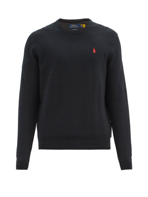 Polo Ralph Lauren - Logo-embroidered Knitted-cotton Sweater - Mens - Black