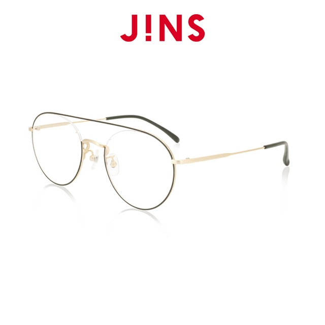 【JINS】 經典細金屬框時尚眼鏡(特ALMN19S280)黑金