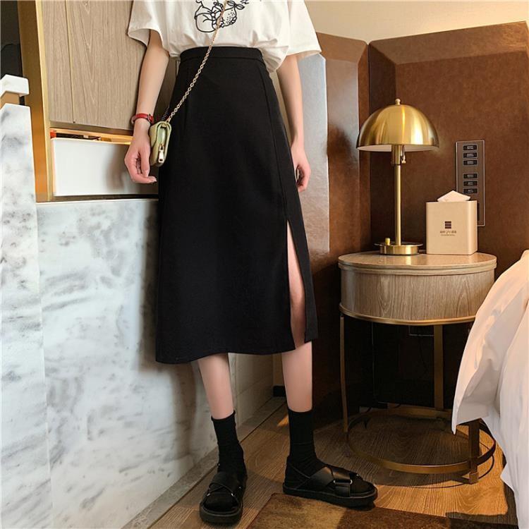 半身裙 夏季正韓高腰顯瘦側開叉中長款流行半身裙女