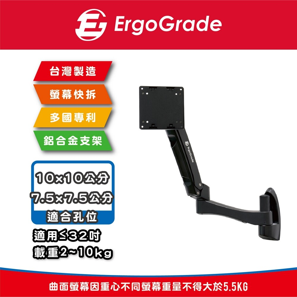 ergograde 快拆式鋁合金雙旋臂壁掛式螢幕支架(egatw20q)