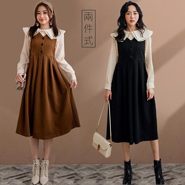 MIUSTAR 兩件式!蕾絲大領皺皺上衣+排釦毛料背心洋裝(共2色)【NH3663】預購