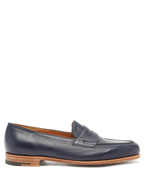 John Lobb - Lopez Grained-leather Penny Loafers - Mens - Navy