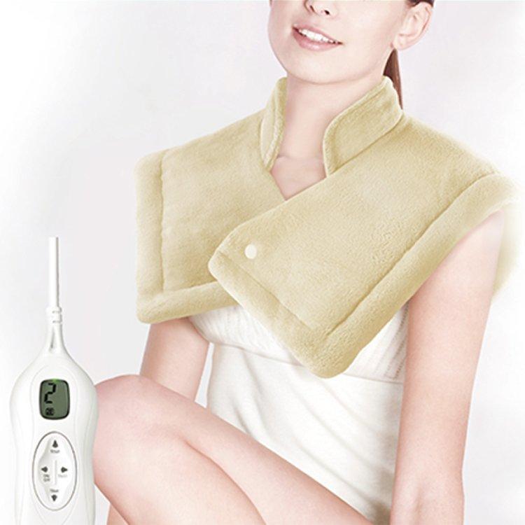 【Sunlus三樂事】LCD頸肩雙用熱敷柔毛墊SP1207BRL ★冬天低溫保暖 自動溫控感應發熱線