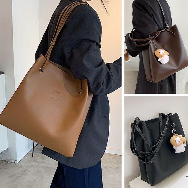 實拍復古大容量包包 時尚百搭簡約單肩手提包托特包(4色)無玩偶-優美依戀