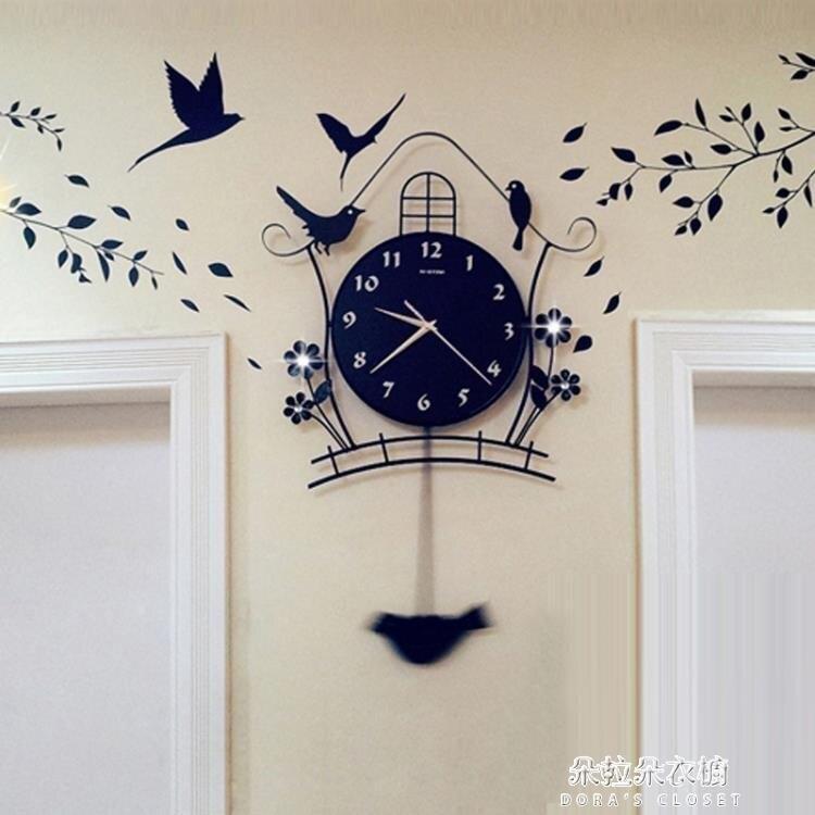 掛鐘 夜光現代裝飾北歐式個性靜音搖擺掛鐘客廳時尚臥室創意家用鳥鐘錶