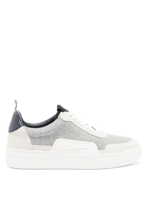 Thom Browne - Basketball Flannel High-top Trainers - Mens - Grey