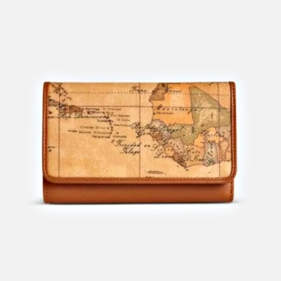 Alviero Martini 義大利地圖包 12卡+3夾層釦式短夾-地圖黃