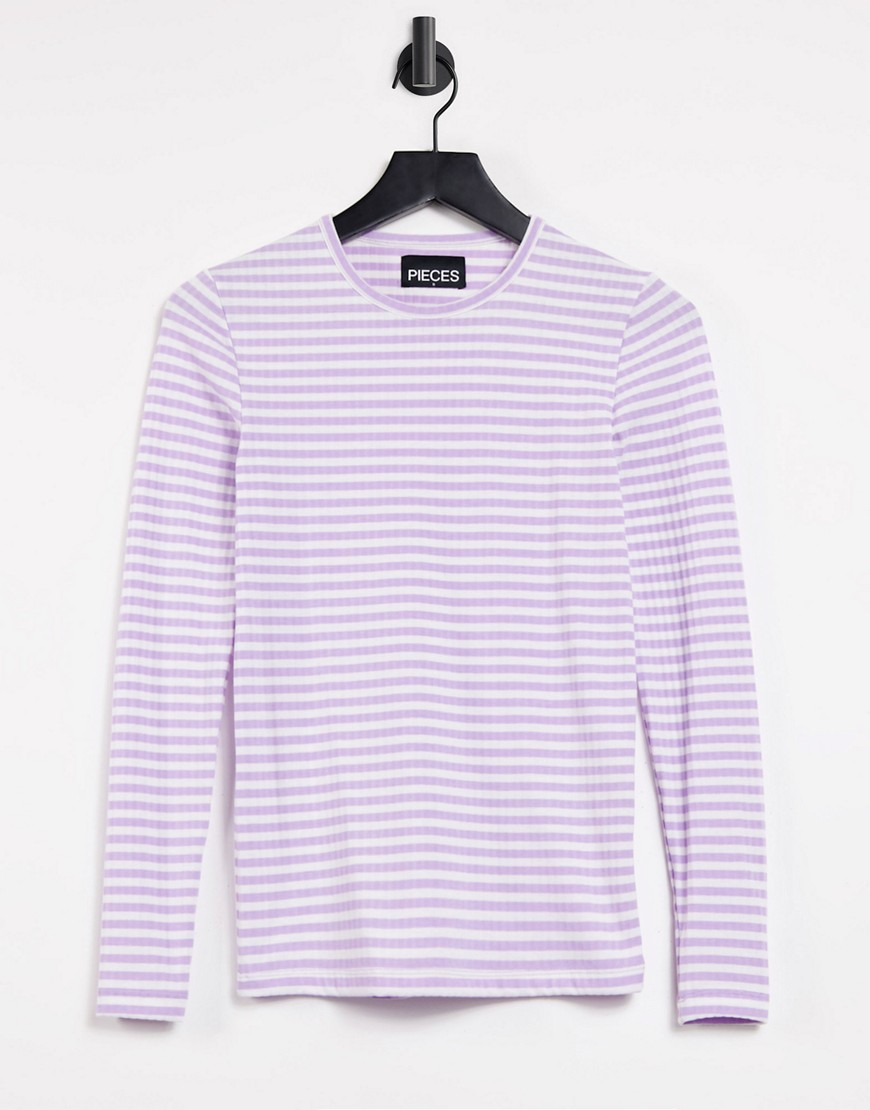 Pieces long sleeve t-shirt in lilac stripe-Purple