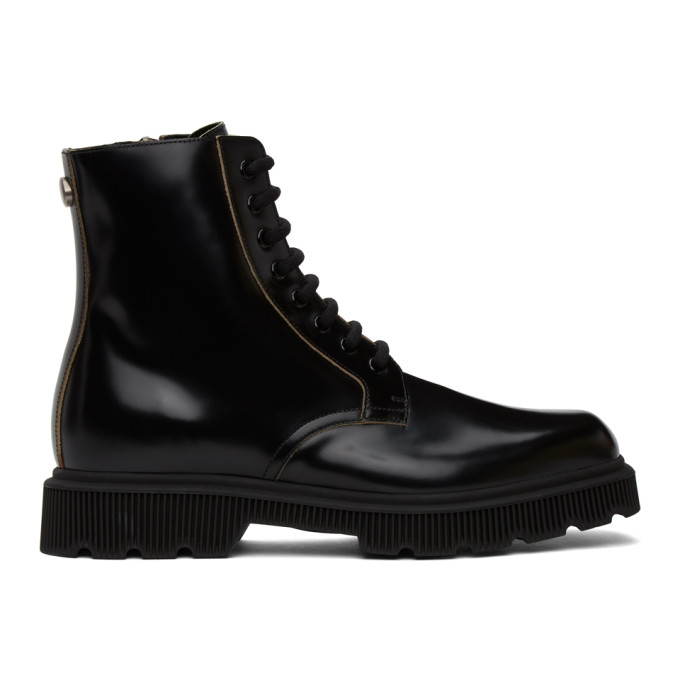 Gucci 黑色 Mystras 系带中筒靴