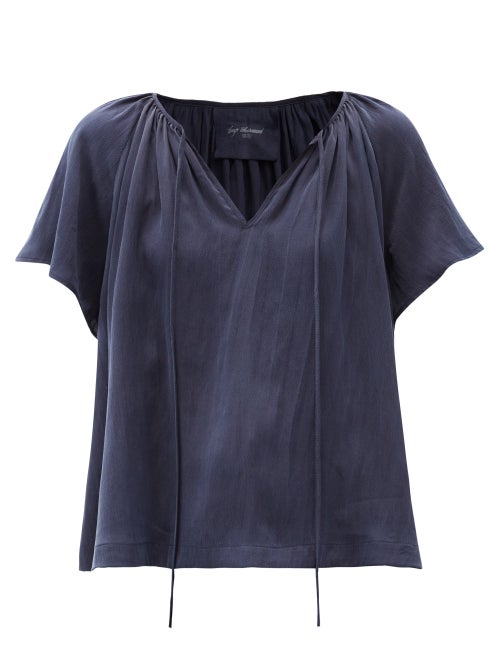 Loup Charmant - Paloma Tie-neck Hammered-silk Blouse - Womens - Navy