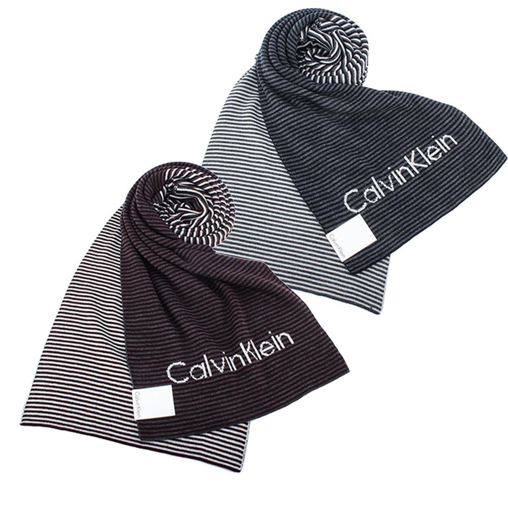 CalvinKlein CK雙拼色條紋圍巾(二色可選) 【GOBRAND購名牌】