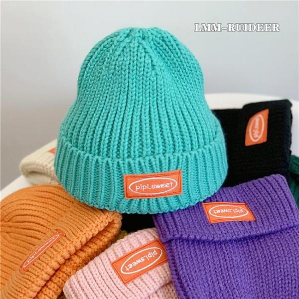 毛線帽子女韓版貼布冬季套頭保暖帽字母針織帽【少女顏究院】