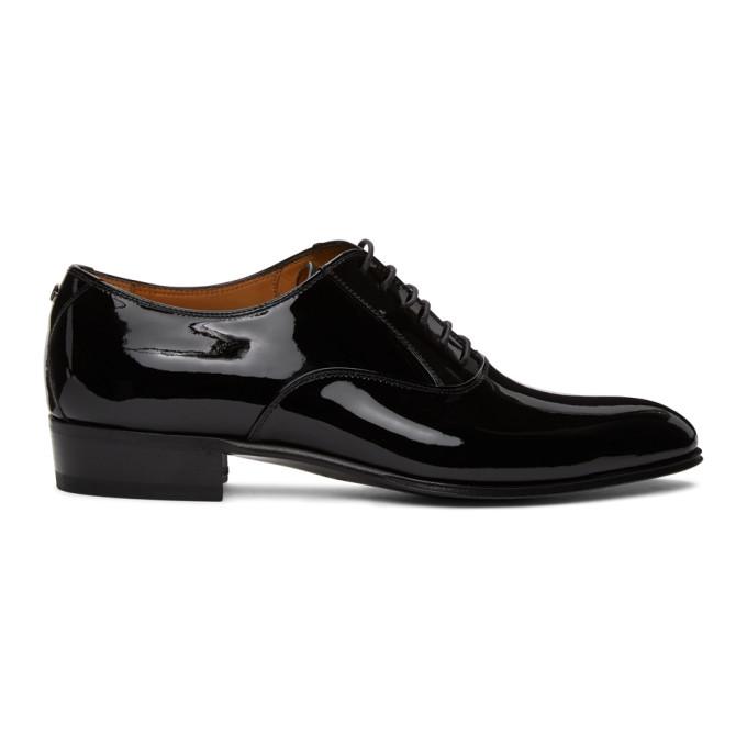 Gucci 黑色 Double G 漆皮牛津鞋