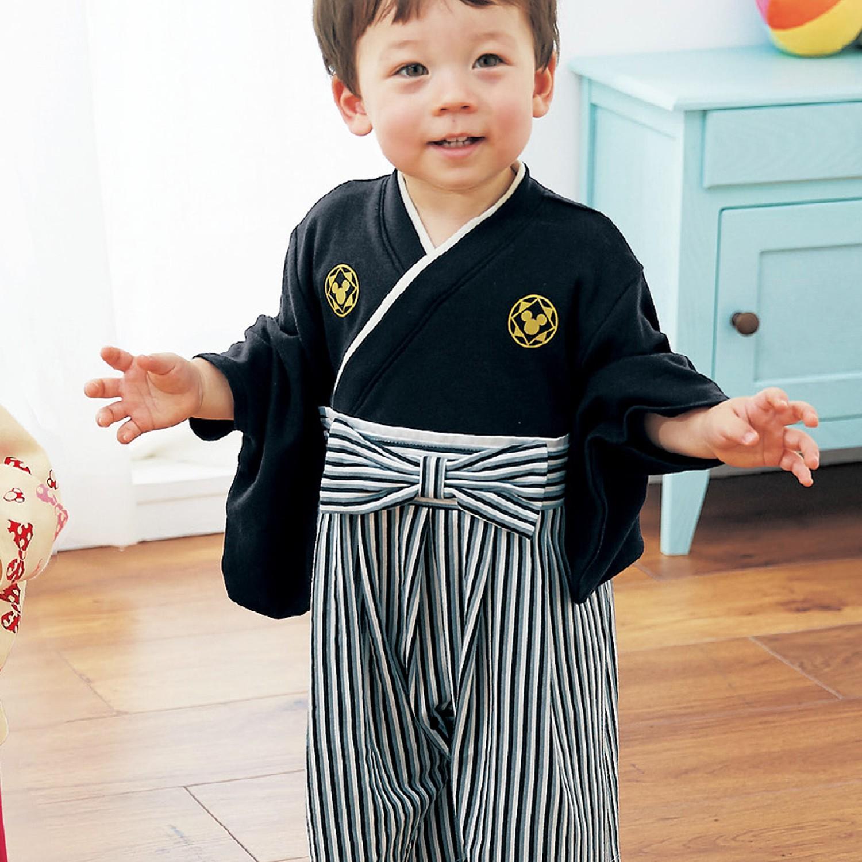日本千趣會 - 迪士尼 純棉日本傳統袴 和服(連身衣式)-米奇-黑 (90)