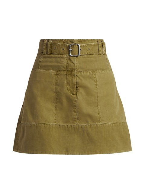 Washed Cotton Belted Flared Skirt