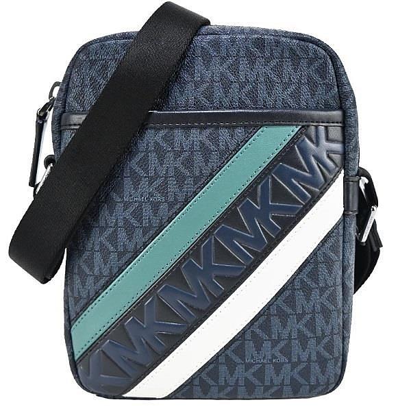 【南紡購物中心】MICHAEL KORS COOPER滿版斜槓斜背包-深藍