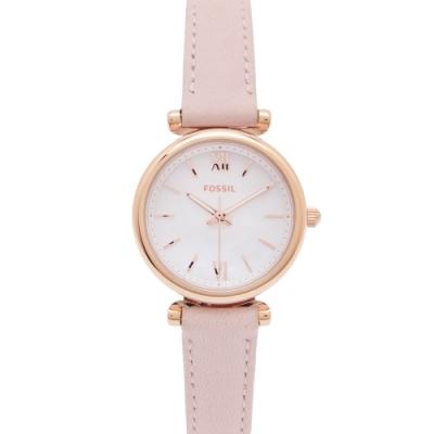 FOSSIL 珍珠貝錶盤的皮革錶帶手錶(ES4699)-珍珠貝面X粉色/28mm
