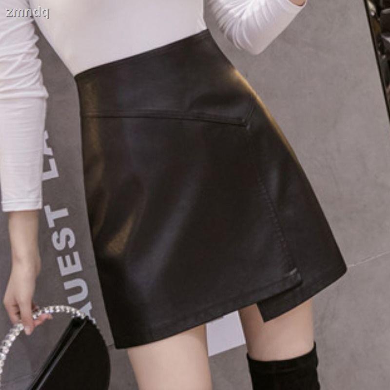 ✉☈✐不規則短皮裙女2020秋冬新款高腰半身裙皮短裙a字裙顯瘦包臀網紅