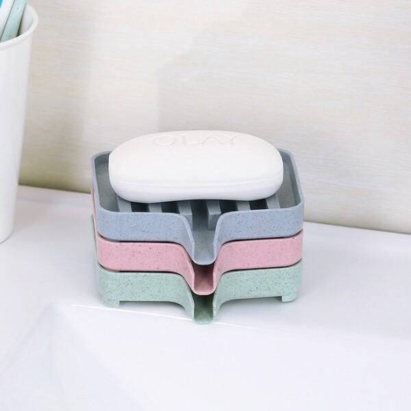 素色小麥塑膠可瀝水香皂盒 j892