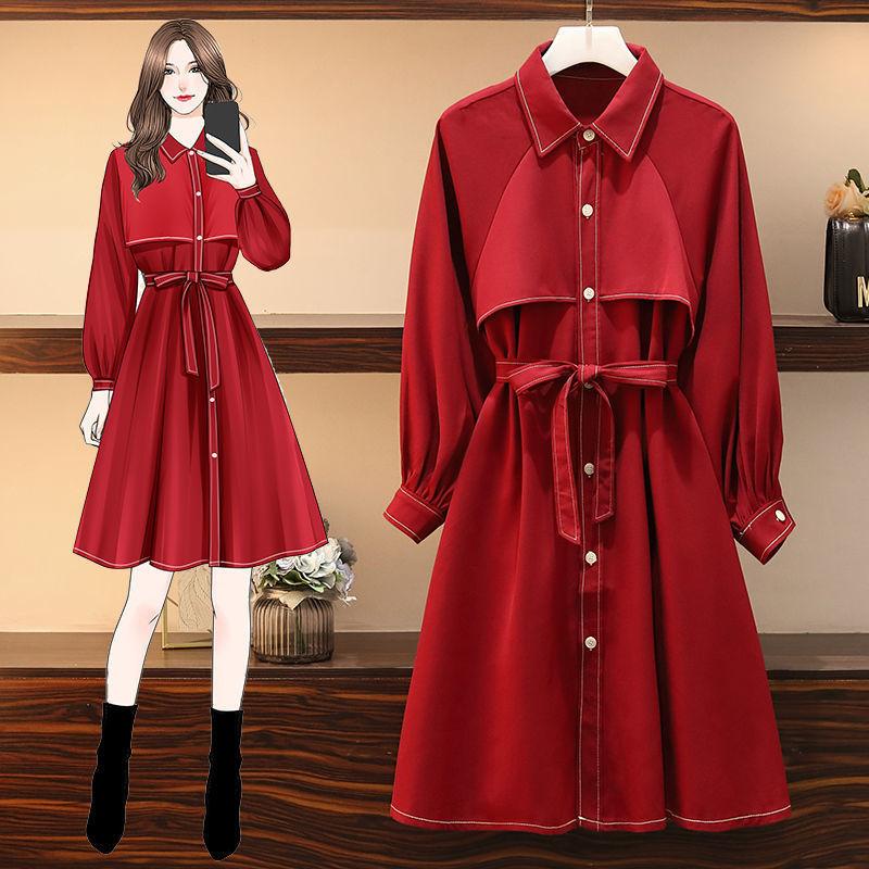 大碼女裝秋裝2020年新款微胖妹妹洋氣收腰顯瘦遮肉氣質紅色連衣裙