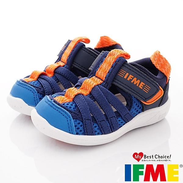 日本IFME健康機能童鞋透氣休閒鞋水涼鞋-IF22-010612藍(寶寶段)零碼