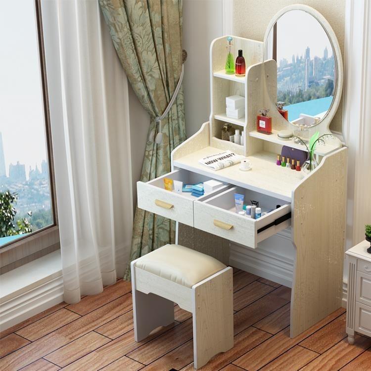 小戶型梳妝台臥室簡約現代化妝桌櫃經濟型省空間簡易 梳妝台