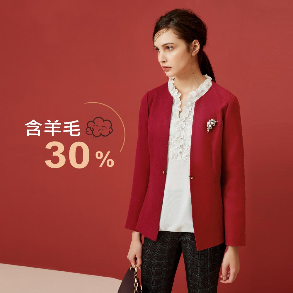 ILEY伊蕾 簡約時尚羊毛混紡單扣外套(紅)959413