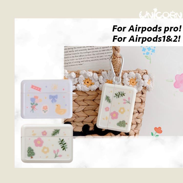-兩款-森林花葉小圖案系列 蘋果AirPods 軟殼保護套 1/2代/3代AirPodsPro 耳機套 收納套【AP1100104】Unicorn