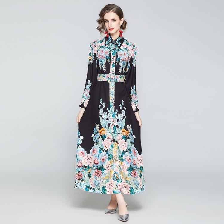 【限時折扣】實拍歐美澳洲貴婦款宮廷風定位印花朵長袖襯衣領大擺連衣裙