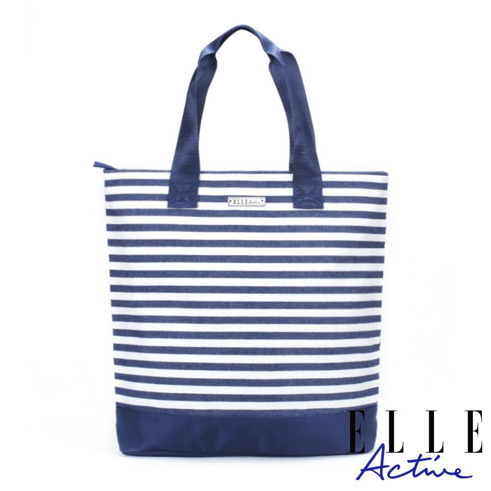 【ELLE Active】迷幻生活系列-購物袋/托特包-海洋條紋