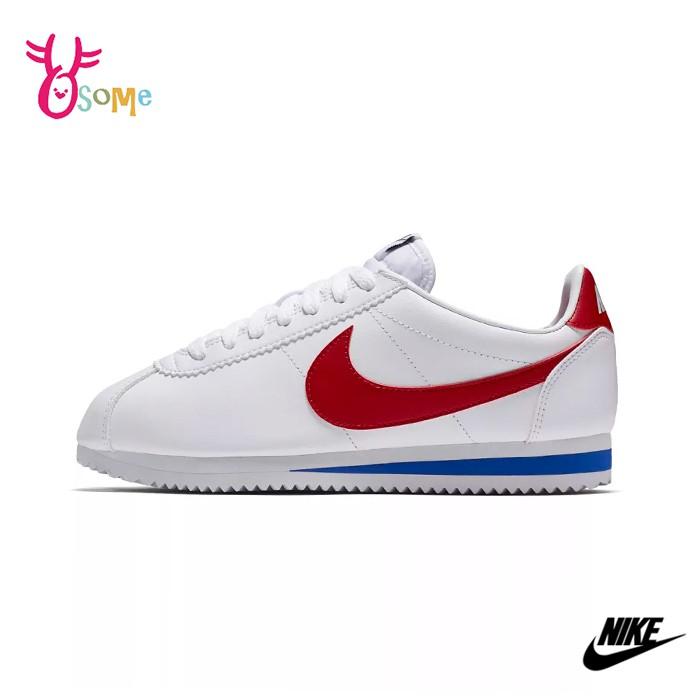 NIKE阿甘鞋 女阿甘鞋 NIKE女鞋 皮革 休閒運動鞋 CLASSIC經典配色 P7256#白紅◆OSOME奧森鞋業