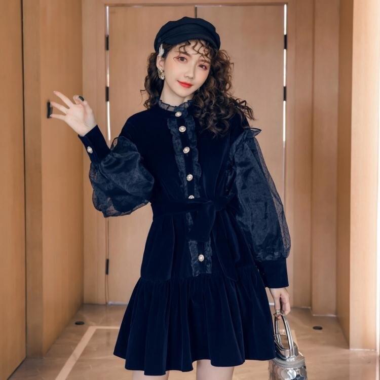 【限時折扣】早秋裝2020年新款初秋女裝輕奢赫本風金絲絨連衣裙子高端氣質名媛