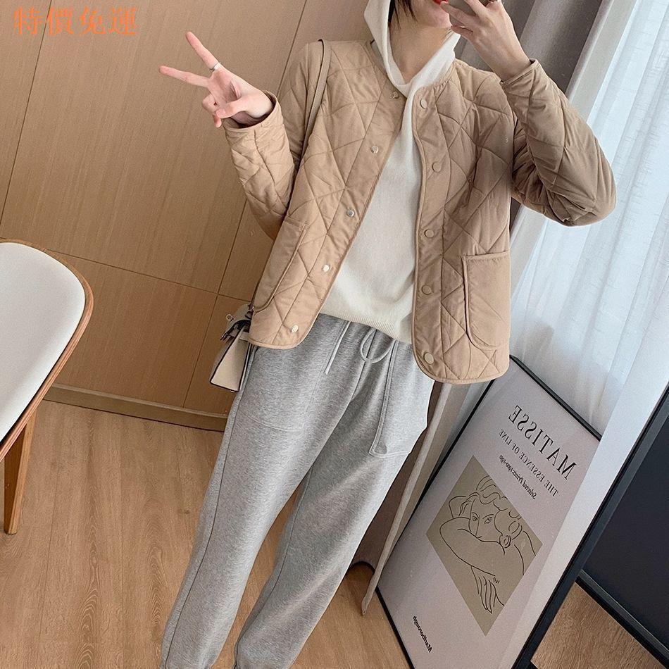 【熱賣】✹❃♝冬季百搭菱格無領輕薄短款棉服女寬松2020年冬裝新款棉衣夾棉外套