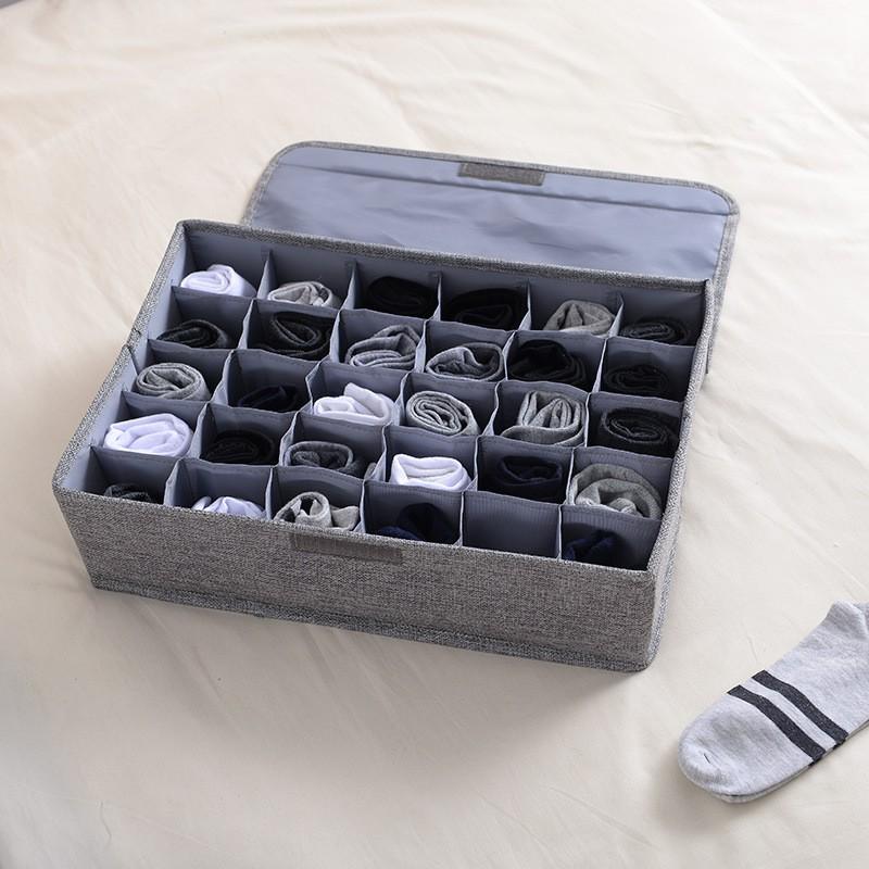 內衣收納盒30格可水洗分格整理卡帶蓋襪子抽屜儲存盒棉麻整理箱
