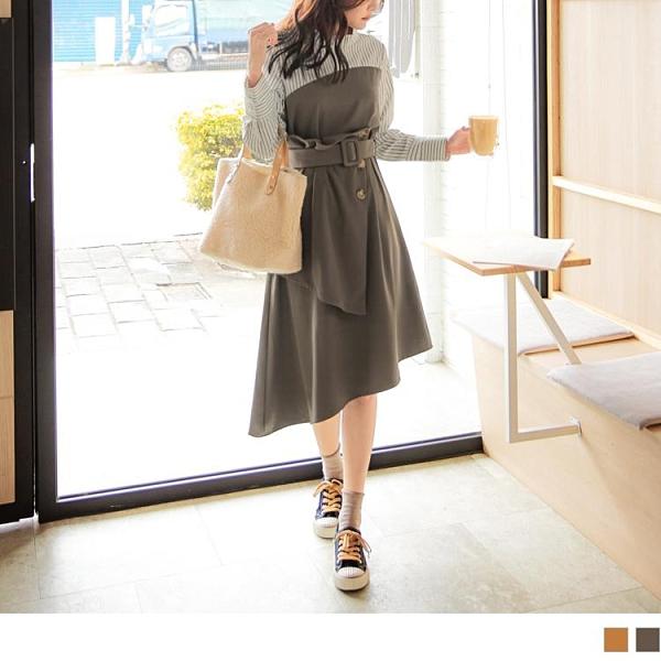 《DA8321-》假兩件條紋拼接層次檔片排釦腰帶長袖洋裝 OB嚴選