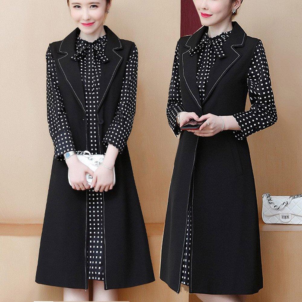 【麗質達人】EB6230洋裝+背心二件套(L-5XL)