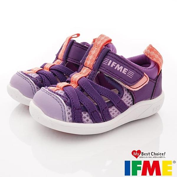 日本IFME健康機能童鞋透氣休閒鞋水涼鞋-IF22-010602紫(寶寶段)零碼