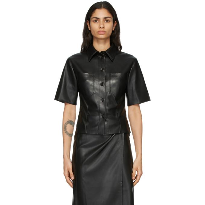 Nanushka 黑色 Sabine 纯素皮革短袖衬衫