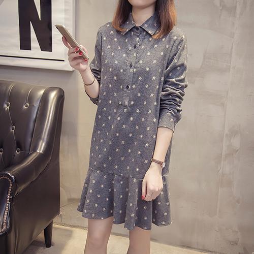 XL-5XL實拍時尚長袖連身裙顯瘦洋裝大碼女裝(2色)-優美依戀