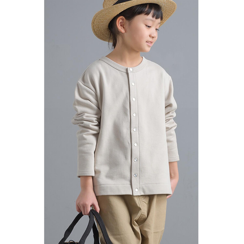 日本女裝代購 - 2way珍珠鈕扣裏毛上衣/外套(小孩)-象牙白