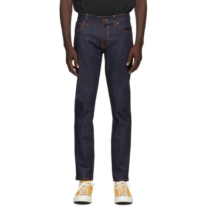 Nudie Jeans 靛蓝色 Thin Finn Dry 有机棉牛仔裤