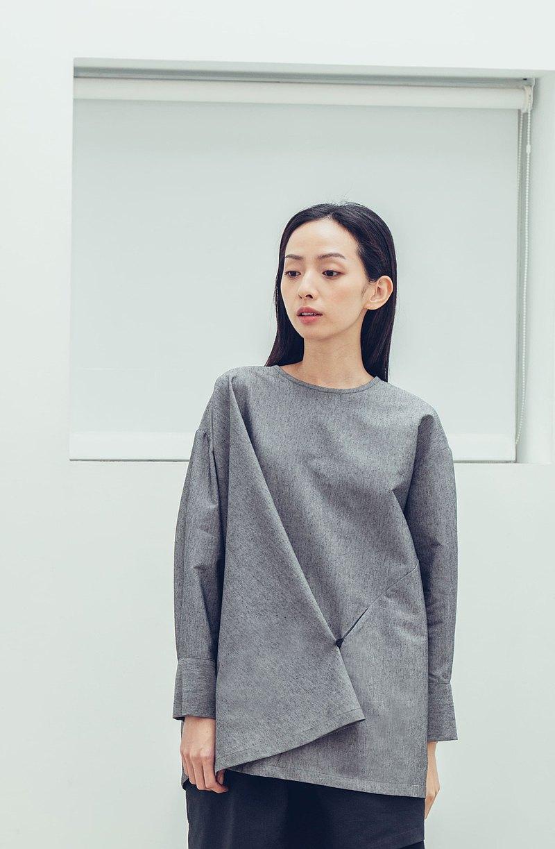 摺衣 半開襟長袖上衣(黑/灰) Organic Cotton