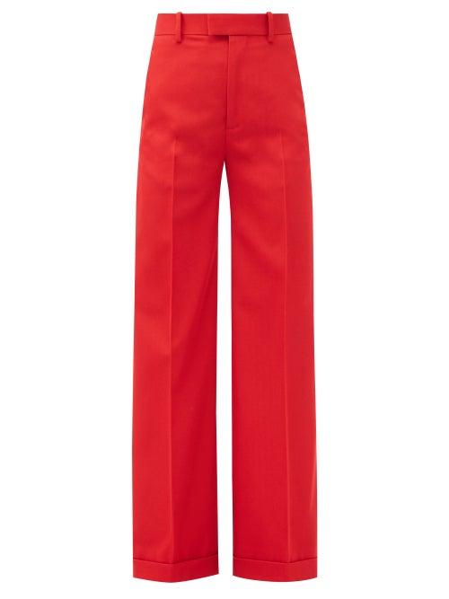 Bottega Veneta - High-rise Wide-leg Wool-gabardine Trousers - Womens - Red