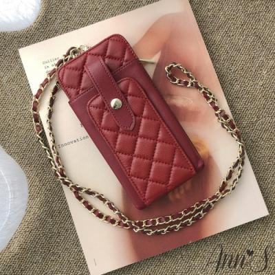 Ann'S小羊皮優雅菱格手機皮夾包-紅