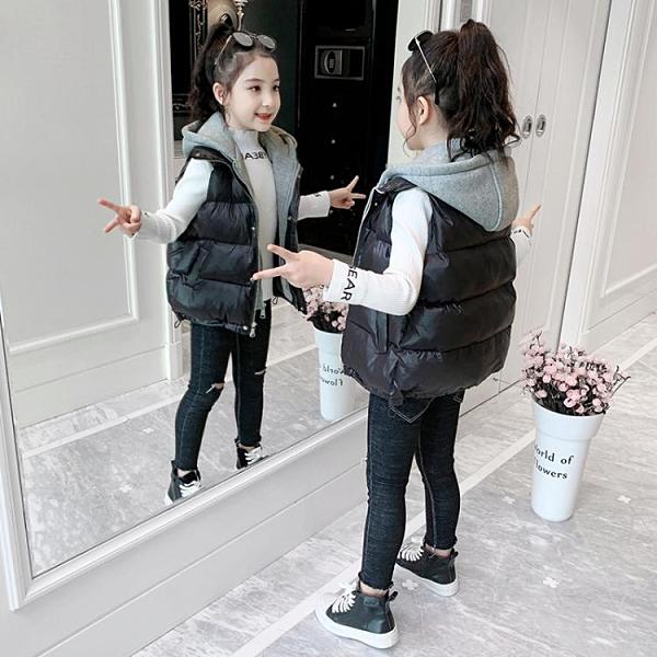 女童棉馬甲 女童馬甲外穿秋冬季2021新款兒童洋氣中大童加厚背心保暖棉外套潮