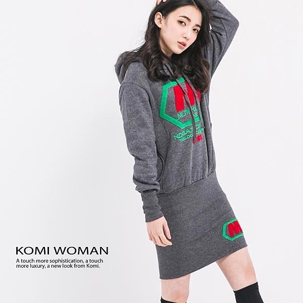 【南紡購物中心】KOMI-厚棉內刷毛連帽運動風洋裝