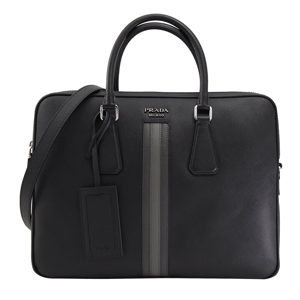PRADA 專櫃商品 2VE368 金屬LOGO條紋造型手提兩用公事包.黑