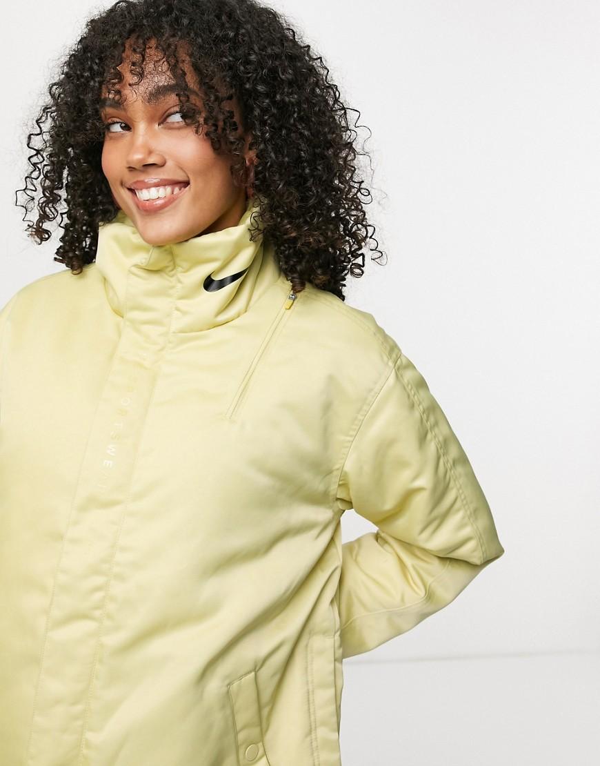 Nike premium jacket in gold with logo print collar-Yellow