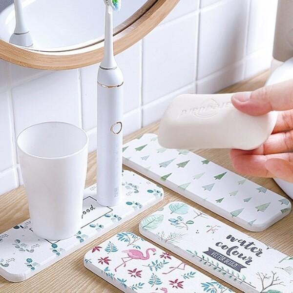 矽藻土珪藻土杯墊 吸水墊洗手台防水墊肥皂收納盒 j2449